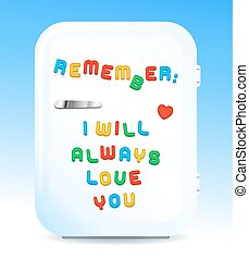 Love promise letter magnets on fridge concept - Little white...