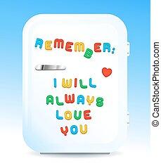 Love promise letter magnets on fridge concept