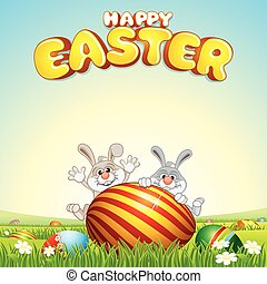 Happy Easter Card Background vector image for design