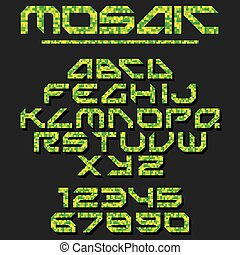 Pixel Mosaic Font. Vector