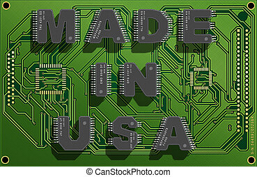 Electronic concept - Electronic circuit board with text...