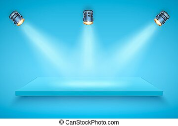 Blue color Presentation platform - Light box with blue...