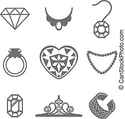 Set of Jewelry Icons ring gem necklace Vector