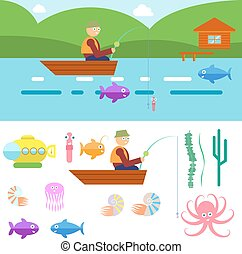 Flat Style Underwater Life with Fisherman on a boat Vector