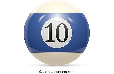 Billiard ten ball isolated on a white background vector...