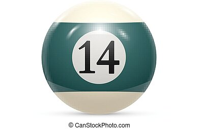 Billiard fourteen ball isolated on a white background vector...