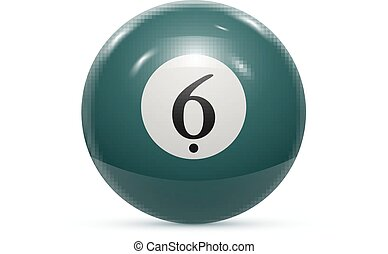 Billiard six ball isolated on a white background vector...