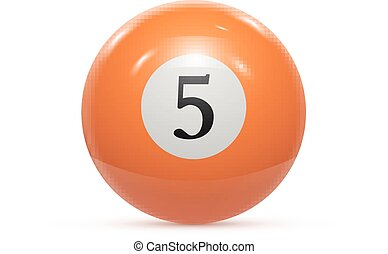 Billiard five ball isolated on a white background vector...