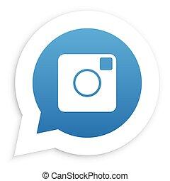 Blue Camera in speech bubble icon Vector