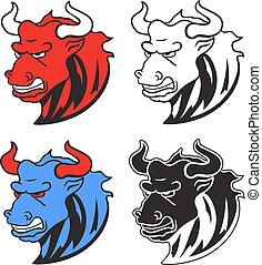Angry wild bull in cartoon design for mascot or equestrian sport