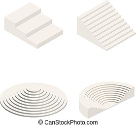 Set of Isometric Stairs Elements Vector
