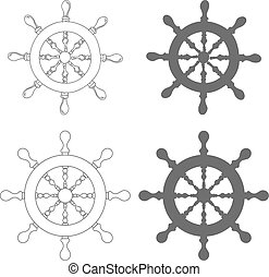 Set of Vintage marine steering wheel Vector