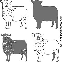 Domestic Animal Sheep Vector - Domestic Animal Sheep Design...