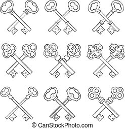 Set of crossed hand drawn keys vector illustration
