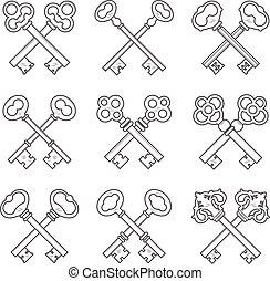 Set of crossed keys design elements vector illustration