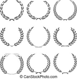 Vector award wreaths, laurel on black background...
