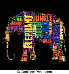 elephant Typography word cloud colorful Vector illustration...