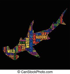 Hammer head sharks Typography word cloud colorful Vector...