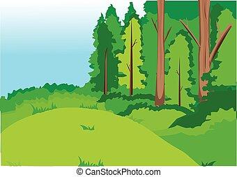 forest - Green forest, glade, hills, bushes. Blue sky.