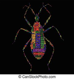 Insect Typography word cloud colorful Vector illustration