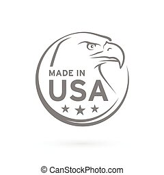 Made in USA icon with American Eagle emblem. Vector...