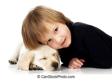 Head on puppy - Child lying with head on sleeping Labrador...
