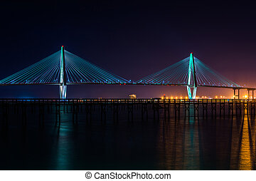 The Arthur Ravenel Bridge, over the Cooper River at night,...