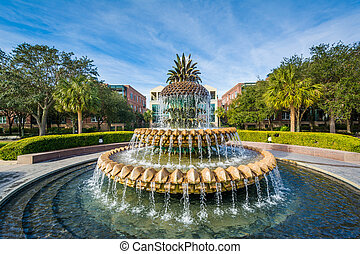 The Pineapple Fountain, at the Waterfront Park in...