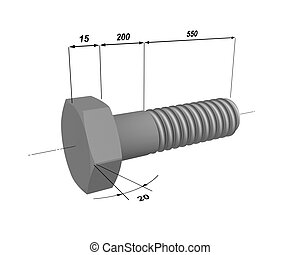 The drawing of a bolt 1 - Three-dimensional model of a metal...