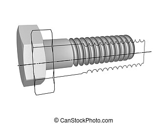 The drawing of a bolt #2 - Three-dimensional model of a...