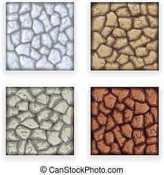 Game Stone Texture Set Vintage Retro Cartoon Style Design...