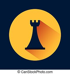 chess rook icon over yellow circle and blue background....
