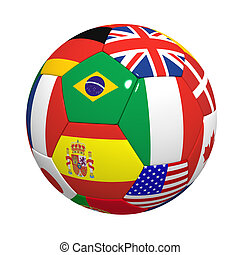 Football with flags - Three-dimensional model of a football...