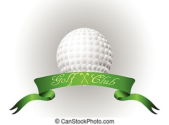 Golf ball with ribbon - Golf ball Vector with ribbon...