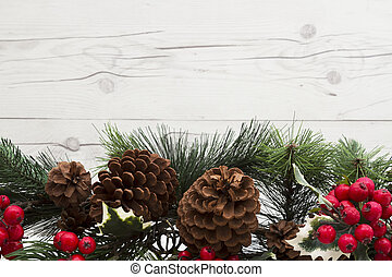 Old fashion Christmas background, Garland with pine cones...