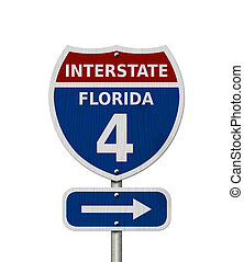 USA Interstate 4 highway sign, Red, white and blue...