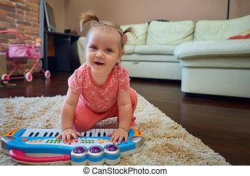 bebé, lindo,  piano, juguete, juego