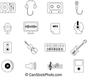 Music and sound production line black and white vector icons