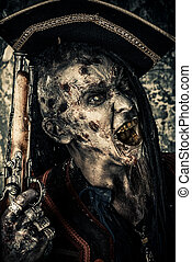decaying pirate - Horror novel character. Aggressive angry...