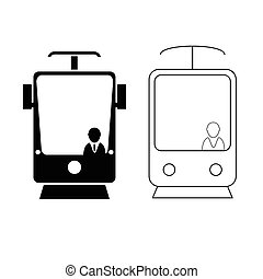 tramway set in black and white color with man icon illustration
