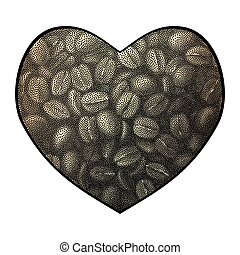Heart vector background. Abstract coffee beans love illustration.