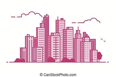 Line city in pink color