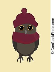 Owl in red hat on yellow background.