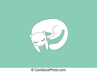 White sweet weasel animal on blue background.