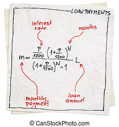 loan payment concept on napkin