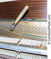 Detailed view of Upright Piano during a tuning.