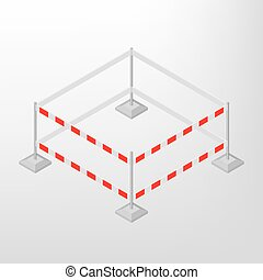 Road traffic barrier isometric, vector illustration. - Road...