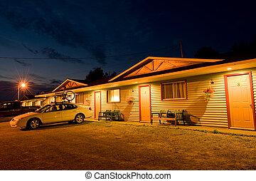 Cozy motel in Inverness, Nova Scotia, at night