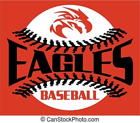 eagles baseball team design with stitches and mascot head...