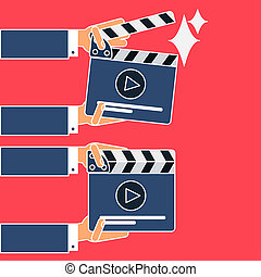 Flat movie clapperboard symbol in hands. Stylish blank movie...